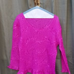 Pink Long Sleeve Polyester Top Medium